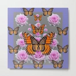 GREY MONARCH BUTTERFLIES PINK ROSES ON GREY ART Metal Print
