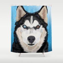 Canadian husky portrait Shower Curtain
