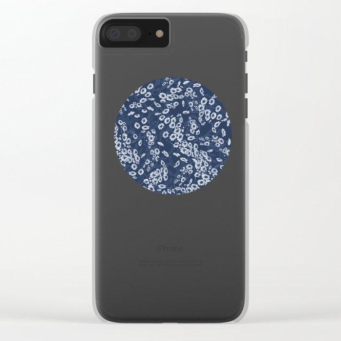 Daisy Dream Navy Clear iPhone Case