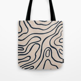 Topographic Map / Nude & Dark Blue Tote Bag