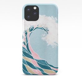 Surf X // Cali Beach Summer Surfing Rip Curl Gold Pink Aqua Abstract Ocean Wave iPhone Case