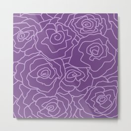 Lavender Dreams Roses - Dark with Light Outline - Color Therapy Metal Print
