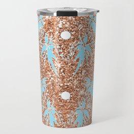 Rose-Gold, Teal and White Sparkle Textile Travel Mug
