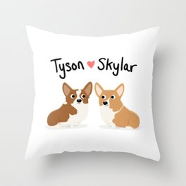 "Custom Cute Dog Art ""Tyson & Skylar"" Throw Pillow"