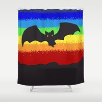 bat Shower Curtains featuring Bat by wingnang