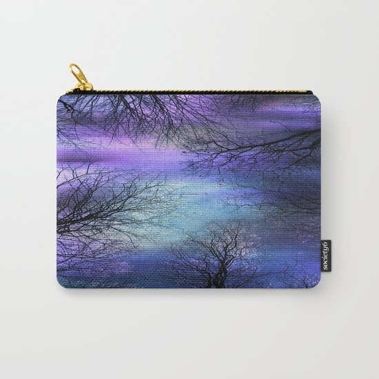 Black Trees Purple Blue Abstract Sky Carry-All Pouch