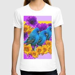 BLUE BIRDS SUNFLOWERS PURPLE FLORA ART T-shirt