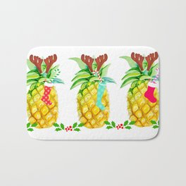 holiday pineapples Bath Mat