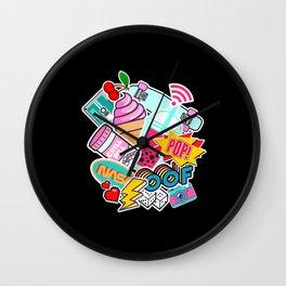 Retro Pop culture Travel Theme mashup Pop Art tee Wall Clock