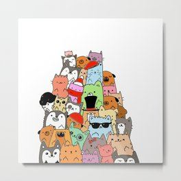 Cute Cats and Dogs Doodle Metal Print