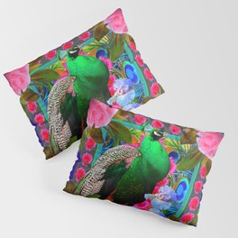 INDIGO & PINK-RED  ROSES GREEN PEACOCK IRIS FLORAL Pillow Sham