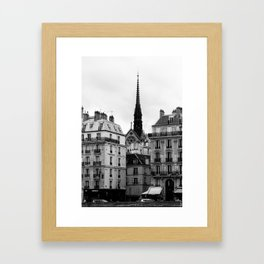 A View of Sainte Chapelle from the Right Bank of the Seine River, Paris, France Framed Art Print