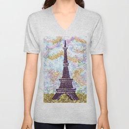 Eiffel Tower Pointillism by Kristie Hubler Unisex V-Neck