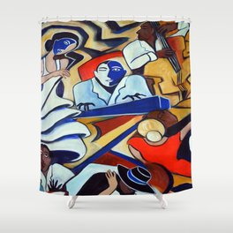 The Blue Piano Shower Curtain