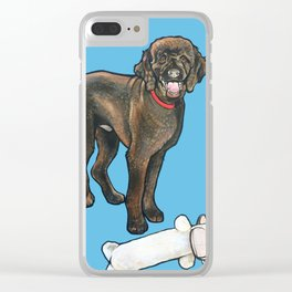 Milo the Poodle with his Monkey Clear iPhone Case