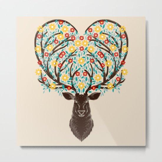 Blooming Deer Spring Metal Print