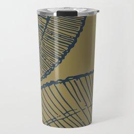 Threaded (navy and ochre) Travel Mug