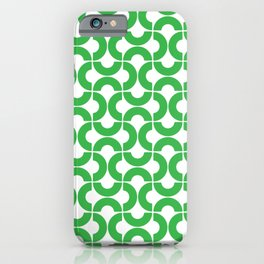 Green and White Mid-Century Modern Geometric Pattern iPhone Case