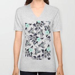 Modern spring grey mint green watercolor floral illustration pattern Unisex V-Neck