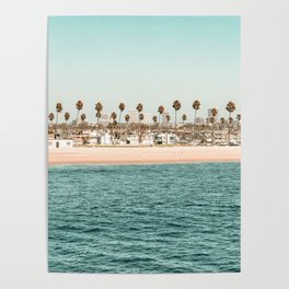 Vintage Newport Beach Print {1 of 4} | Photography Ocean Palm Trees Teal Tropical Summer Sky Poster