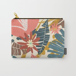 Tropical Flowers and Leaves Carry-All Pouch