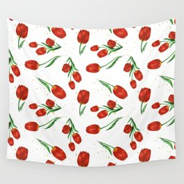 Red Tulips Wall Tapestry