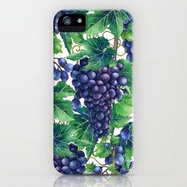 Watrercolor grapes iPhone Case