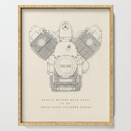 Original technical drawing, italian motorcycle engine, retro garage sign, vintage mechanic Serving Tray