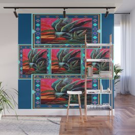 WESTERN STYLE DESERT AGAVE PAINTING BLUE PATTERN Wall Mural