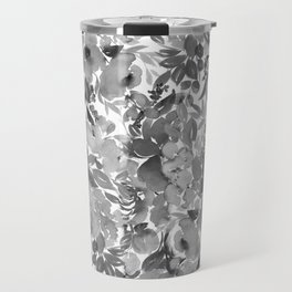 Black and White Watercolor Bouquet Travel Mug