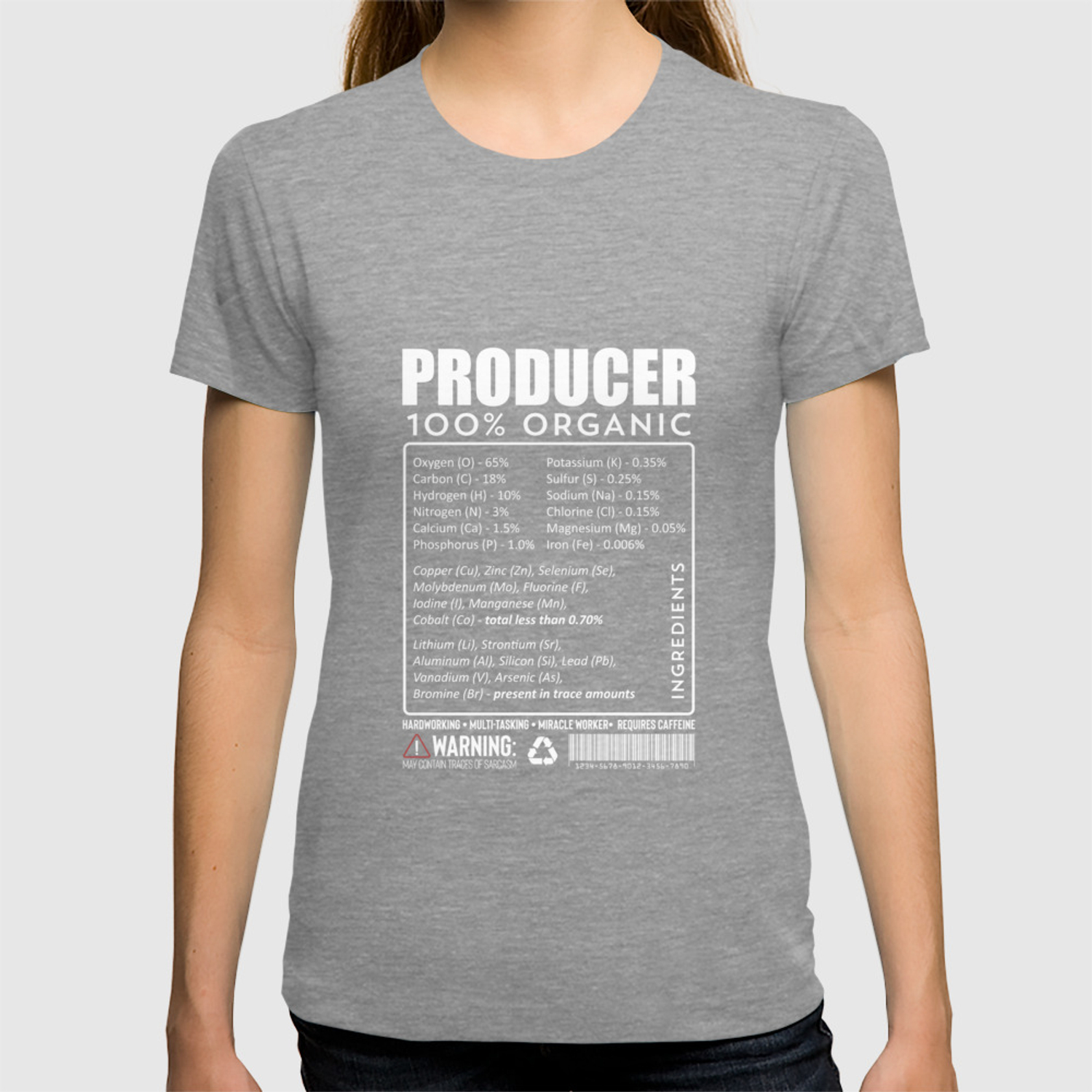 Funny Music Film Producer Ingredients Nutrition Facts Shirt T-shirt