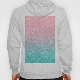 Salmon Pink To Turquoise-Blue Sparkling Glitter Hoody