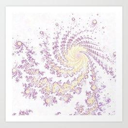 Mandelbrot Fractal White Patterned Swirl Art Print