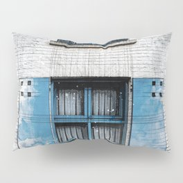 Architect Drawing of Blue Wooden Windows Pillow Sham