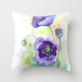 Watercolor blue poppy flowers Throw Pillow