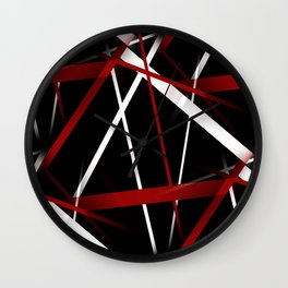 Seamless Red and White Stripes on A Black Background Wall Clock