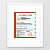 buddhism Framed Art Prints featuring Buddhism Poster by Idle Amusement