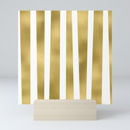 Gold unequal stripes on clear white - vertical pattern Mini Art Print