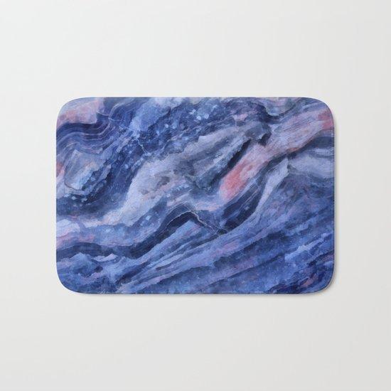 Blue watercolor marble Bath Mat