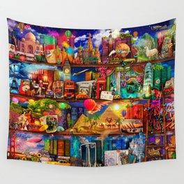 World Traveler Book Shelf Wall Tapestry