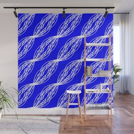 White molecular helix with diagonal circles on a blue sea background. Wall Mural