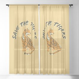 Save The Tigers Sheer Curtain