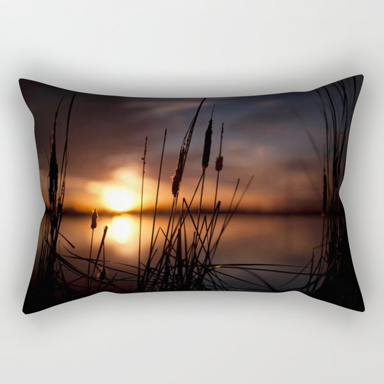 Sunset Lake and Silhouette Rectangular Pillow