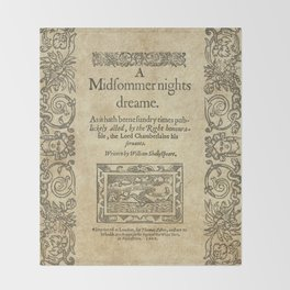 Shakespeare. A midsummer night's dream, 1600 Throw Blanket