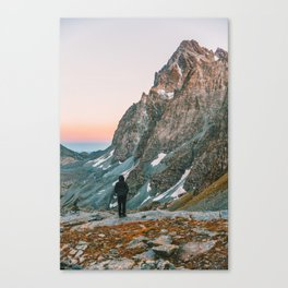 sunset on the monviso Canvas Print