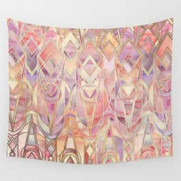 Glowing Coral and Amethyst Art Deco Pattern Wall Tapestry