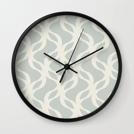 Abstract Intertwining Wave Pattern in Grey and Sand Wall Clock