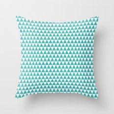 triangles - aqua and white Throw Pillow
