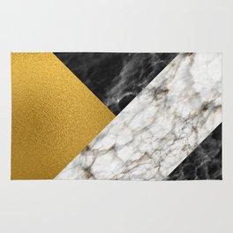 Gold foil white black marble #4 Rug