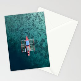Boat from above in the Philippines. Stationery Cards